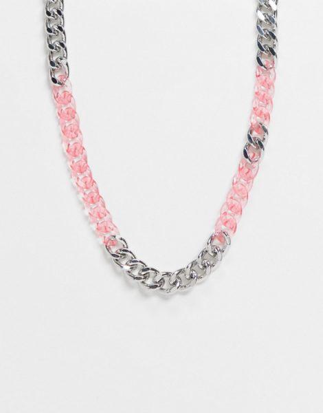 ASOS DESIGN - Halskette in Silberfarbton mit Kettengliedern aus Kunstharz