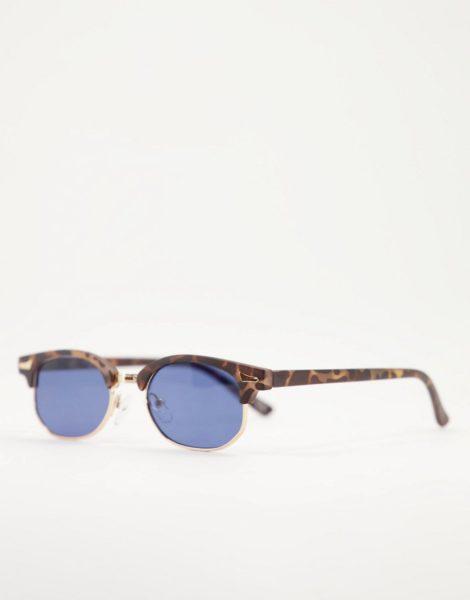 ASOS DESIGN - Kleine Retro-Sonnenbrille mit Schildplattdetail und getönten Gläsern-Braun