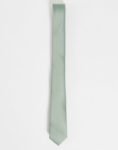 ASOS DESIGN - Krawatte aus Satin in Salbeigrün