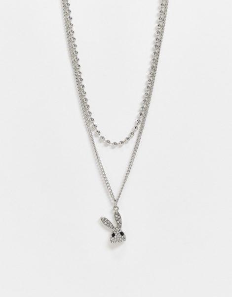 ASOS DESIGN - Mehrreihige, silberfarbene Halskette mit Hasenanhänger