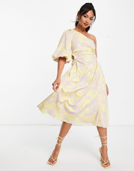 ASOS DESIGN - Midi-Skater-Kleid mit One-Shoulder-Träger, Puffärmel, seitlichem Zierausschnitt und Blumenmuster-Mehrfarbig
