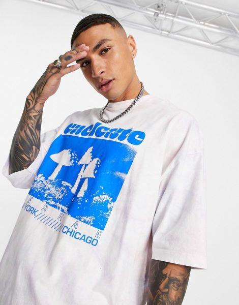 ASOS DESIGN - Oversize T-Shirt mit Batikmuster und Pilz-Print-Mehrfarbig