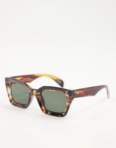 ASOS DESIGN - Quadratische Oversize-Sonnenbrille in Schildpatt mit getönten Gläsern-Braun