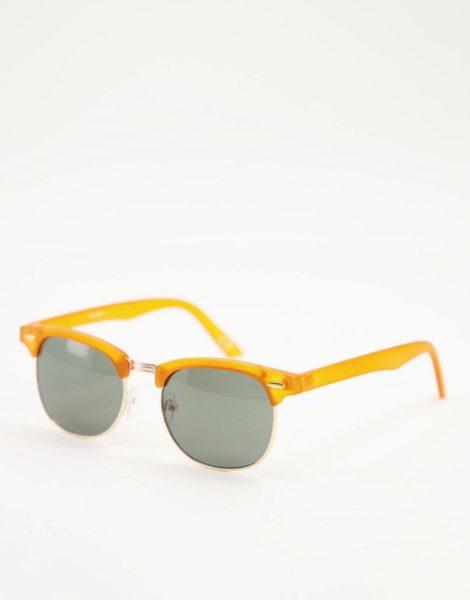 ASOS DESIGN - Retro-Sonnenbrille mit orangefarbenem Detail und getönten Gläsern
