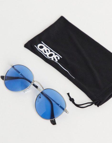 ASOS DESIGN - Runde Sonnenbrille aus silbernem Metall mit blauen Gläsern
