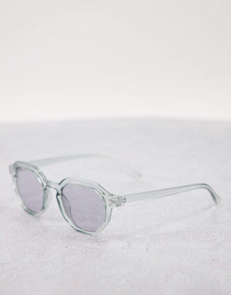ASOS DESIGN - Runde Sonnenbrille in Kristallgrau mit blassgetönten Gläsern