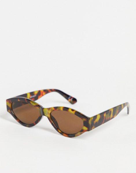 ASOS DESIGN - Runde Sonnenbrille in brauner Schildpatt-Optik mit rauchig getönten Gläsern