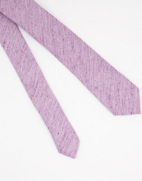 ASOS DESIGN - Schmal geschnittene Krawatte in Flieder mit Struktur-Lila