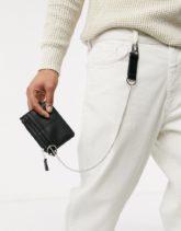 ASOS DESIGN - Schwarze Geldbörse mit silbernem Kettendetail