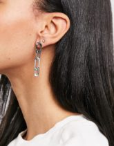 ASOS DESIGN - Silberfarbene Ohrringe mit Figaro-Kettenanhänger