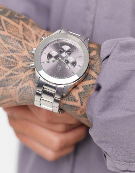 ASOS - Dark Future - Silberfarbene Armbanduhr
