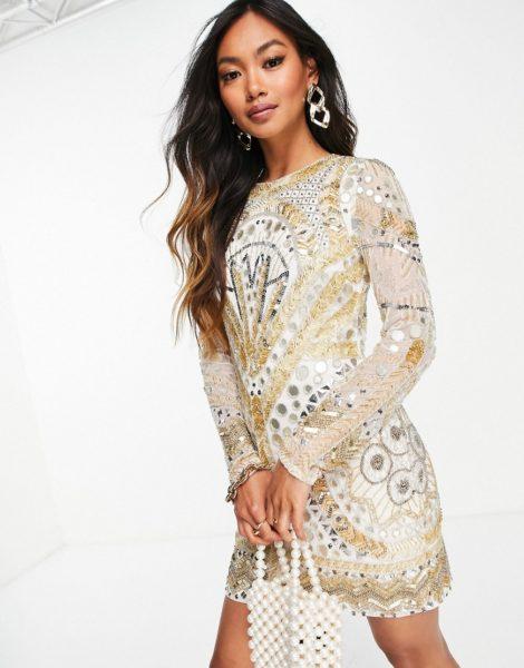 ASOS EDITION - Bodycon-Kleid mit goldfarbenen Spiegelapplikationen-Weiß