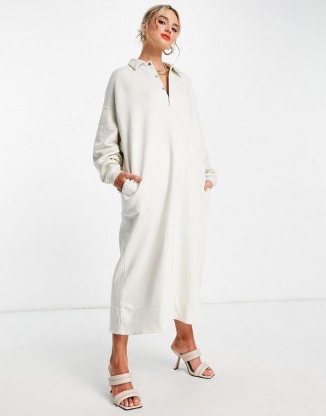 ASOS EDITION - Sweatshirt-Kleid mit Oversize-Schnitt und Polokragen in Kieselgrau
