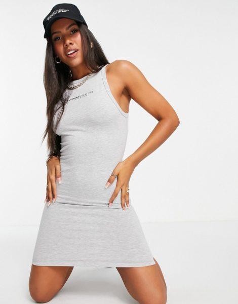 ASOS - Weekend Collective - Figurbetontes Kleid mit Racer-Design und Logo in Grau meliert