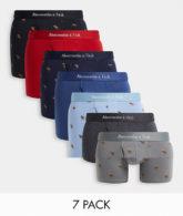 Abercrombie & Fitch - 7er-Pack Unterhosen mit durchgehendem Logo-Print in Schwarz/Grau/Rosa/Blau-Mehrfarbig
