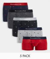 Abercrombie & Fitch - Unterhosen mit durchgehendem Logoprint in Schwarz/Grau/Rosa im 5er-Pack-Mehrfarbig