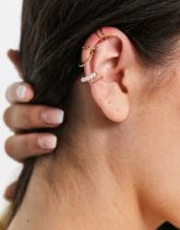 Accessorize - Goldfarbene Ohrringe und Ohrklemmen mit Strass im Multipack