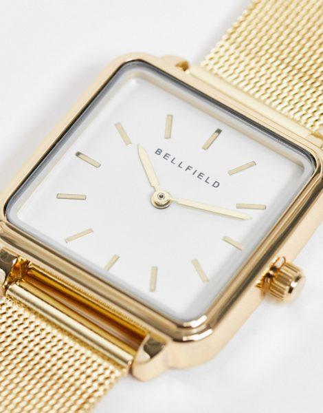Bellfield - Uhr aus Edelstahl mit Netzarmband und quadratischem Zifferblatt-Goldfarben