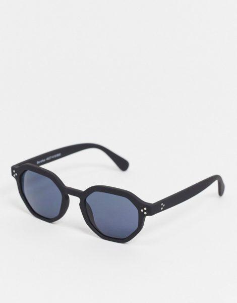 Bershka - Sechseckige Sonnenbrille in Schwarz