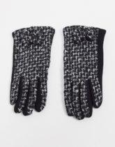 Boardmans - Schwarze Bouclé-Handschuhe mit Schleife