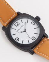 Brave Soul - Braune Uhr mit weißem Zifferblatt