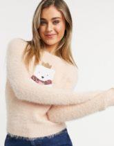 Brave Soul - Kuschliger Weihnachtspullover mit Eisbär-Motiv-Rosa