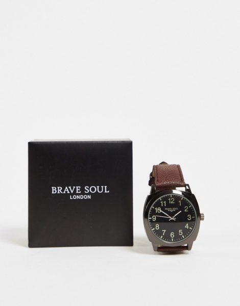 Brave Soul - Oversized Uhr mit schwarzem Zifferblatt-Braun