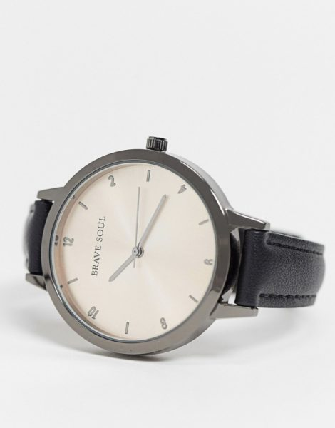 Brave Soul - Uhr mit Armband aus Kunstleder-Schwarz