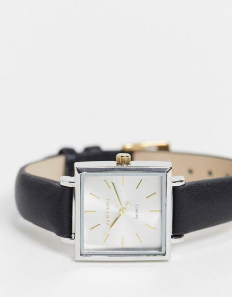 Brave Soul - Uhr mit Kunstlederarmband und quadratischem Zifferblatt-Schwarz