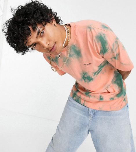 COLLUSION - T-Shirt in Korallenrot mit Batikmuster, Kombiteil-Orange