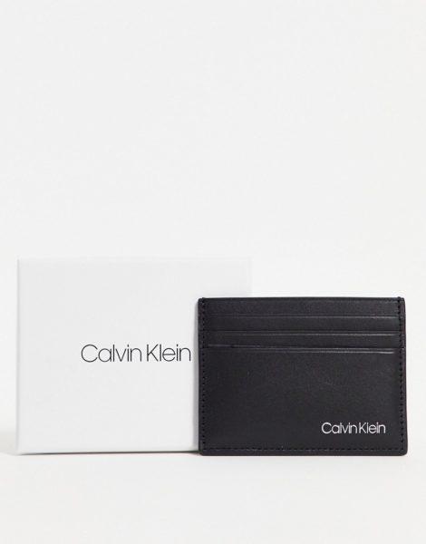 Calvin Klein - Kartenetui aus Leder in Schwarz mit Logo