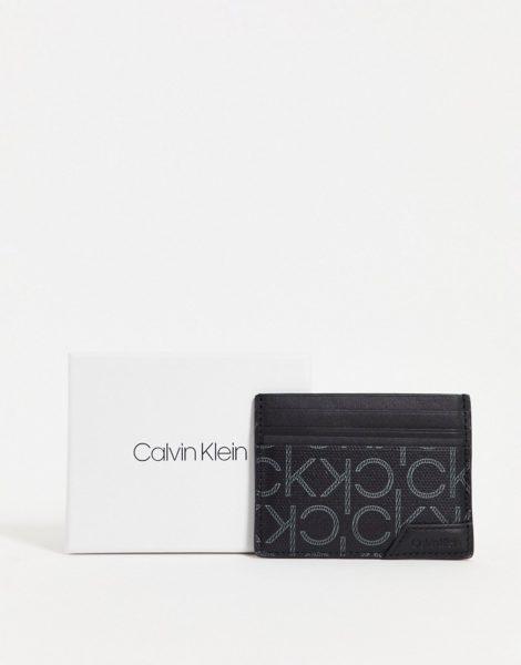 Calvin Klein - Kartenetui aus Leder in Schwarz mit Monogrammprint