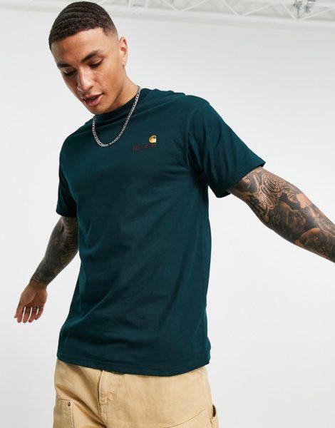 Carhartt WIP - American - T-Shirt in Dunkelgrün mit Schriftzug