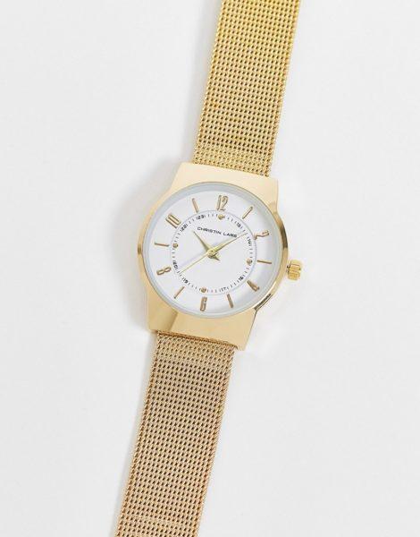 Christin Lars - Uhr mit Netzarmband aus Edelstahl-Goldfarben
