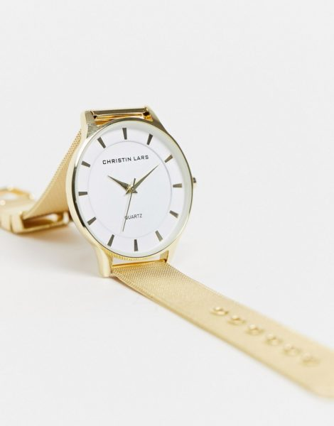 Christin Lars - Uhr mit verstellbarem Netzarmband-Goldfarben