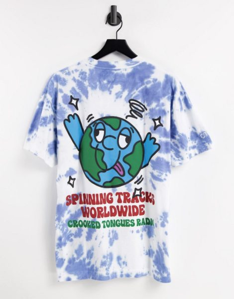 Crooked Tongues - T-Shirt mit Weltkugel-Print und blauem Batikmuster-Mehrfarbig