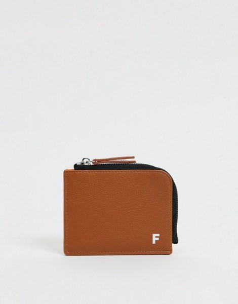 Fenton - Brieftasche aus PU mit Rundherum-Reißverschluss-Braun