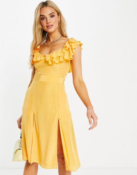 French Connection - Almedina - Kleid mit Rüschen am Ausschnitt in Orange