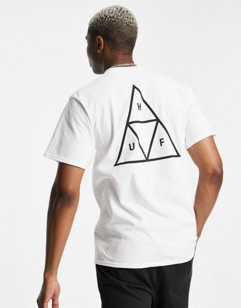 HUF - Essentials - T-Shirt in Weiß mit dreigeteiltem Dreieck-Logo