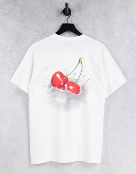 HUF - T-Shirt in Weiß mit Kirschen-Rückenprint