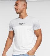 Hollister - Weißes T-Shirt mit Farbblock-Logo auf der Brust