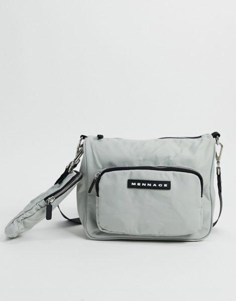 Mennace - Hüfttasche aus Nylon mit zwei Fächern in Grau