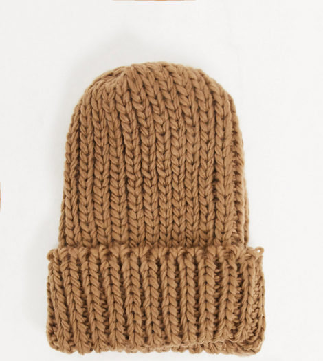 My Accessories London - Exklusive gerippte Beanie in Taupe-Neutral