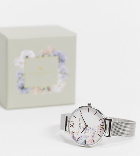 Olivia Burton - Painterly Prints - Armbanduhr für Damen, exklusiv bei ASOS-Silber