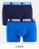 PUMA - 2er-Pack Boxershorts mit Logobund in Marineblau/Blau