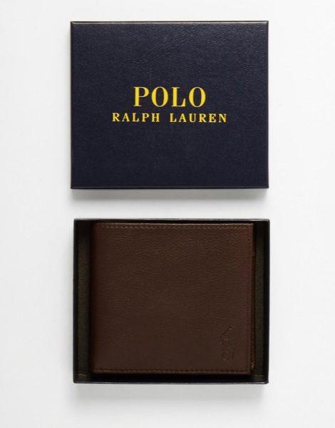Polo Ralph Lauren - Brieftasche aus braunem Leder mit Münzfach