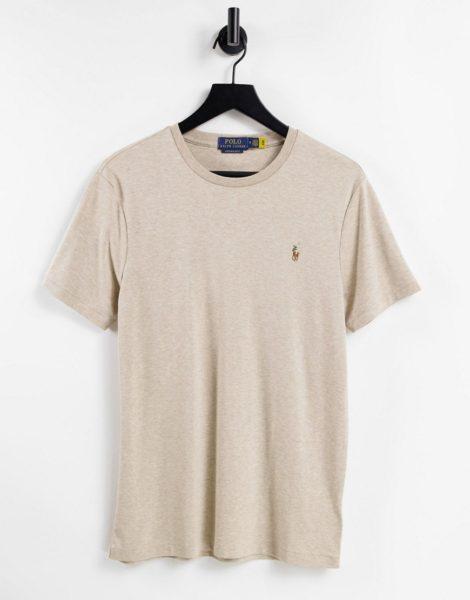 Polo Ralph Lauren - T-Shirt aus Pima-Jersey in toskanischem Beige meliert mit buntem Polospieler-Logo-Neutral