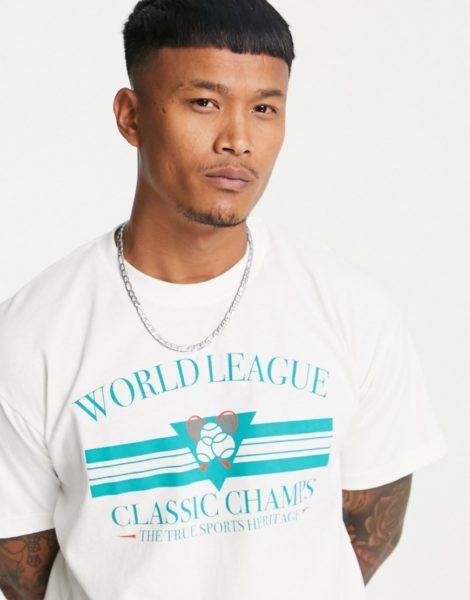 Pull&Bear - College T-Shirt in Weiß