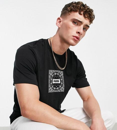 Puma - Off Beat - T-Shirt mit Paisley-Logo in Schwarz, exklusiv bei ASOS