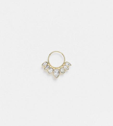 Reclaimed Vintage - Inspired - Einzelner Ohr- oder Nasenring mit Kristalldesign-Goldfarben